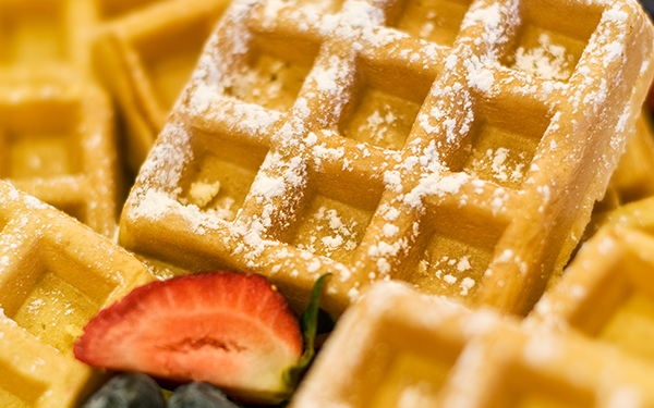 Waffles in a Breakfast setting